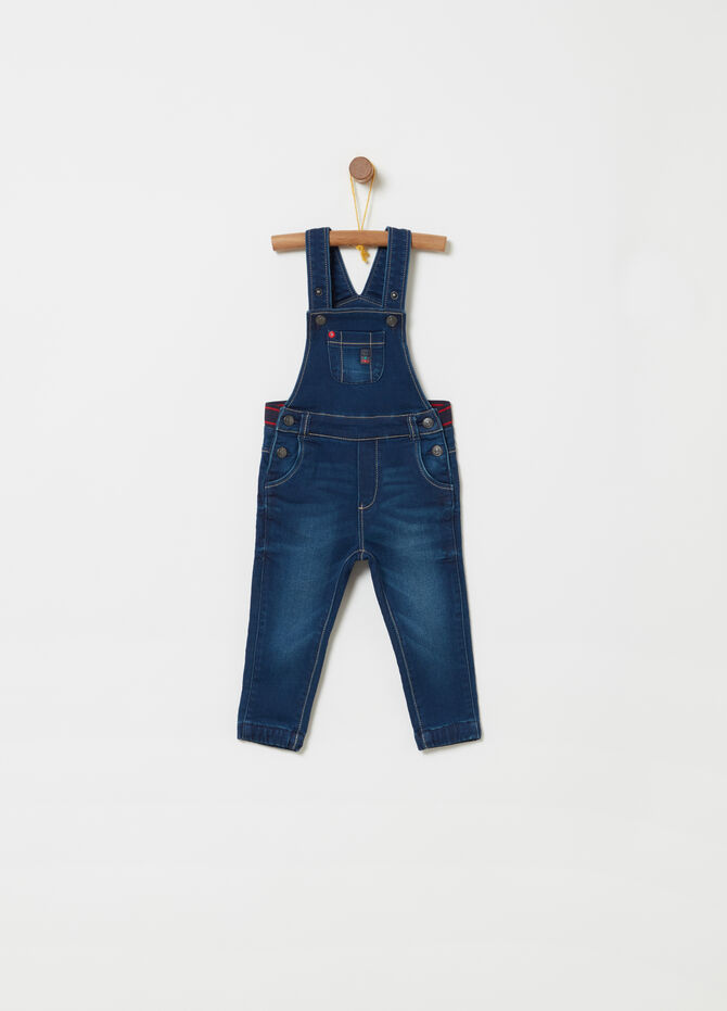 Stretch denim dungarees with elastic waist