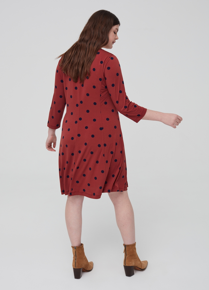 Curvy stretch polka dot dress image number null