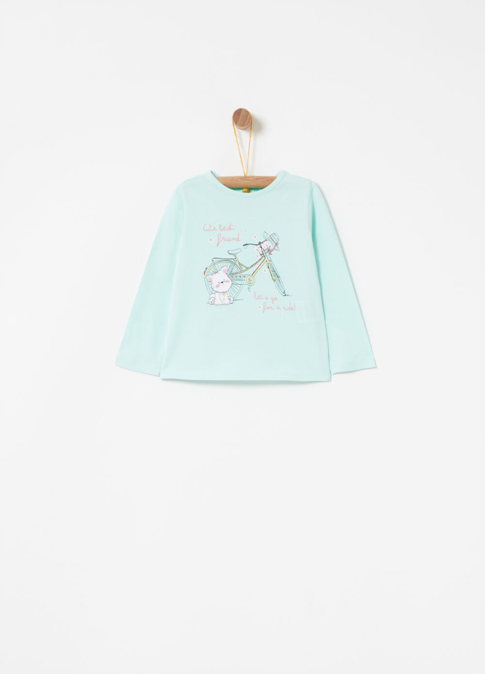Cotton jersey T-shirt with dogs and bikes print