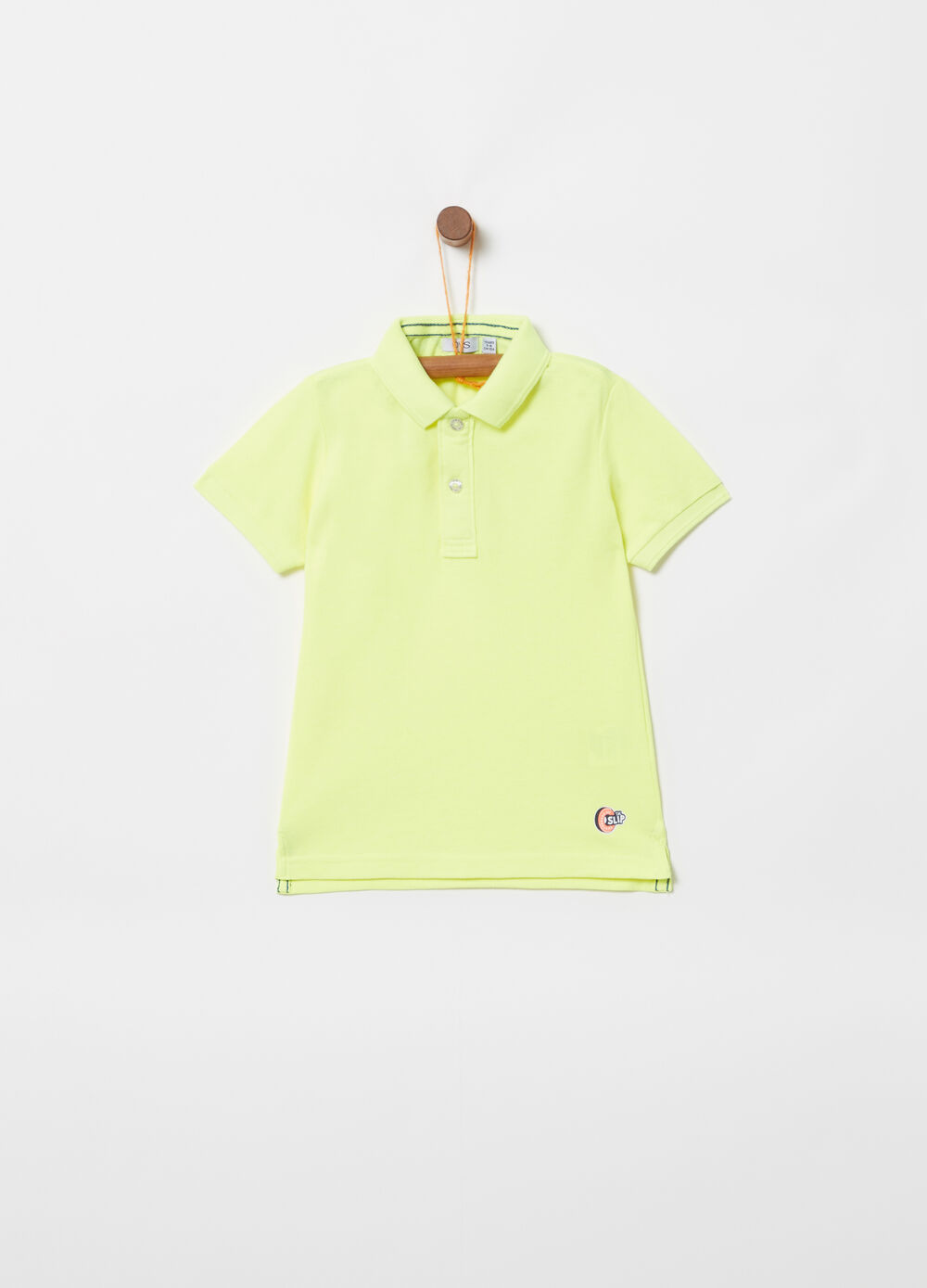 Cotton piquet polo shirt with print