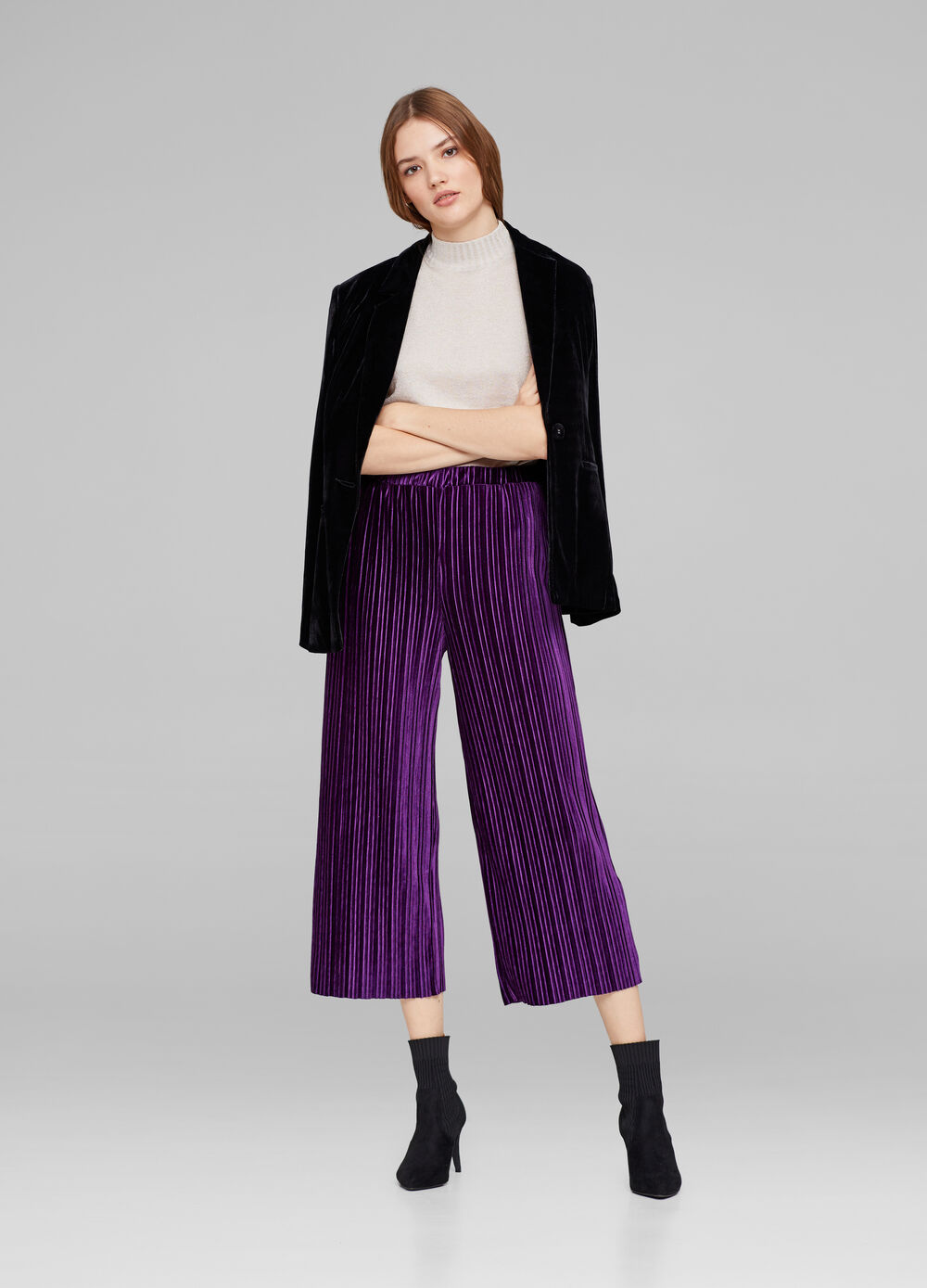 Culotte in velluto plissettato stretch