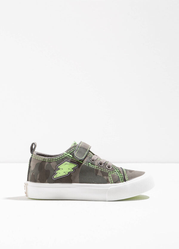 Camouflage sneakers with lightening embroidery | OVS