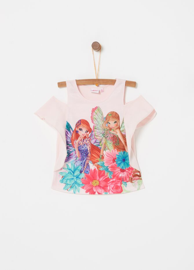 T-shirt stretch stampa Winx con strass