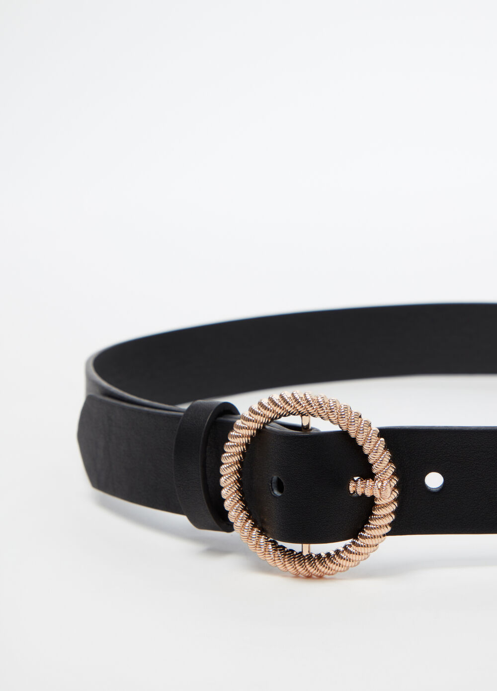 Belt with round metal buckle