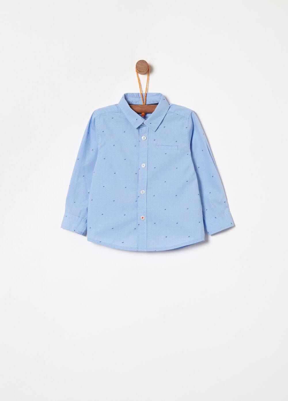 Cotton shirt with micro polka dot pocket