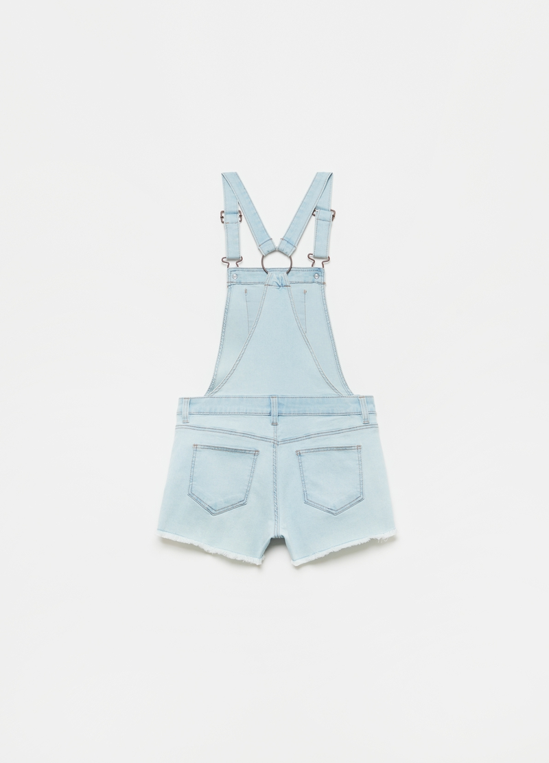 Short dungarees in stretch denim image number null