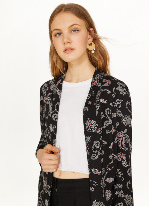 Blazer viscosa stampa floreale all-over