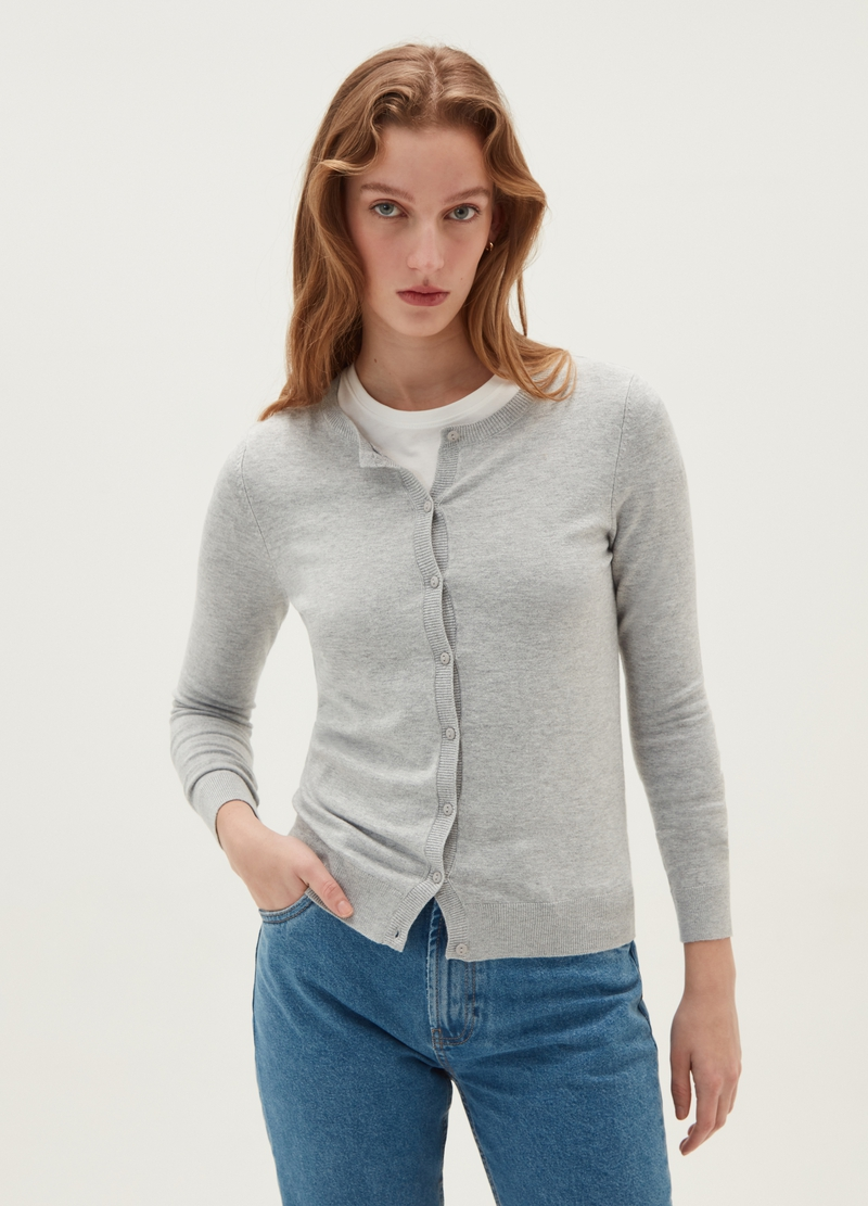 Mélange cardigan with round neck image number null