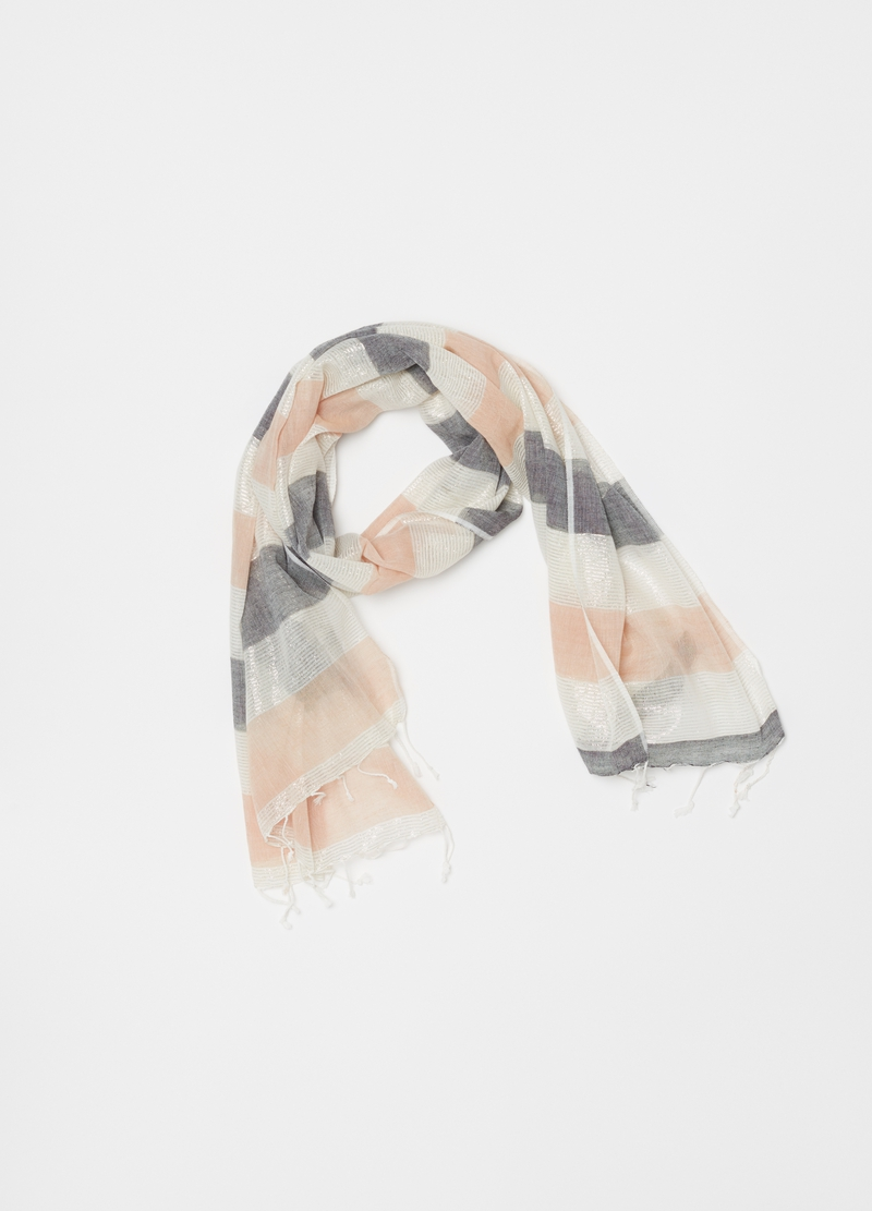 Cotton and lurex scarf with striped pattern image number null
