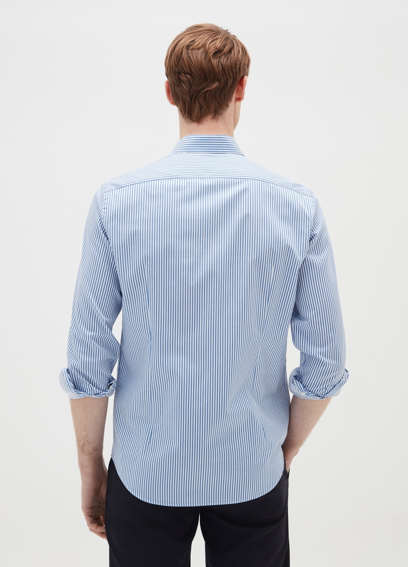 Slim-fit striped shirt with bluff collar image number null