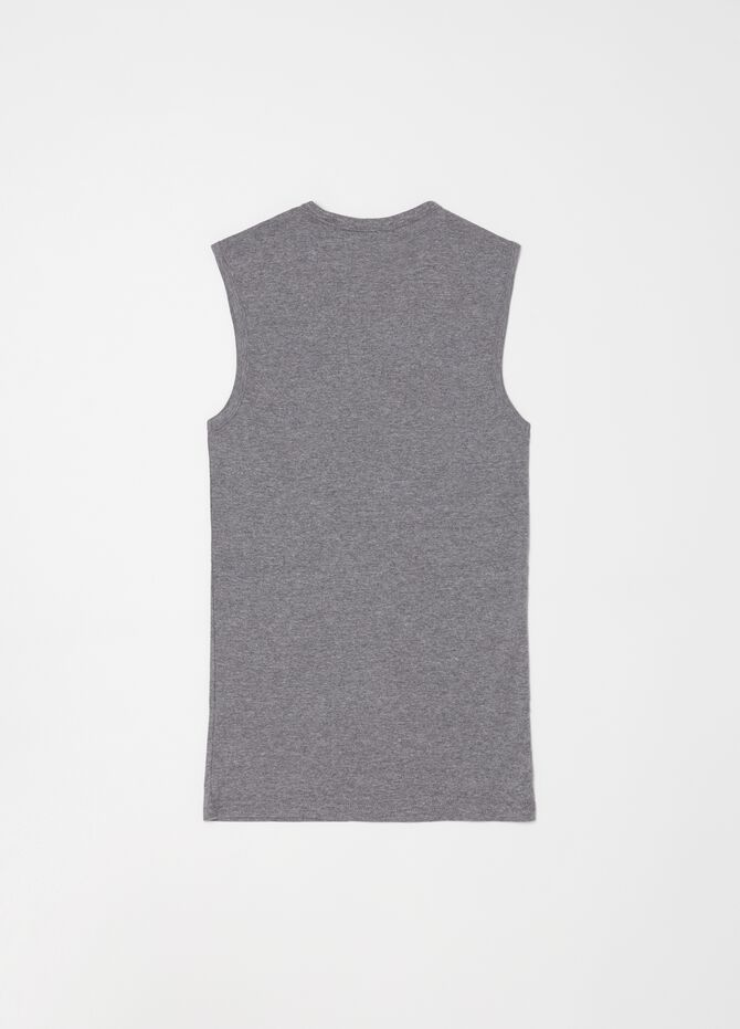 Mélange racerback top with V-neck and ribbing