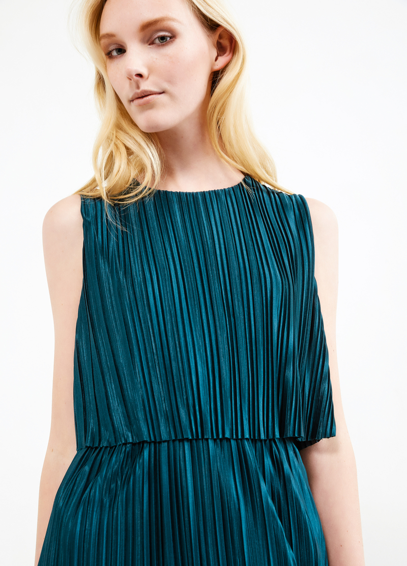 Pleated longuette dress image number null