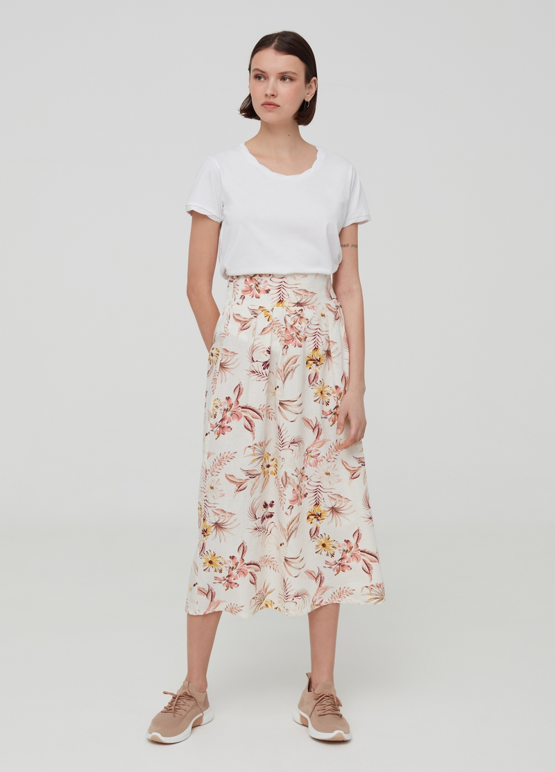 High-waisted skirt in linen and viscose image number null