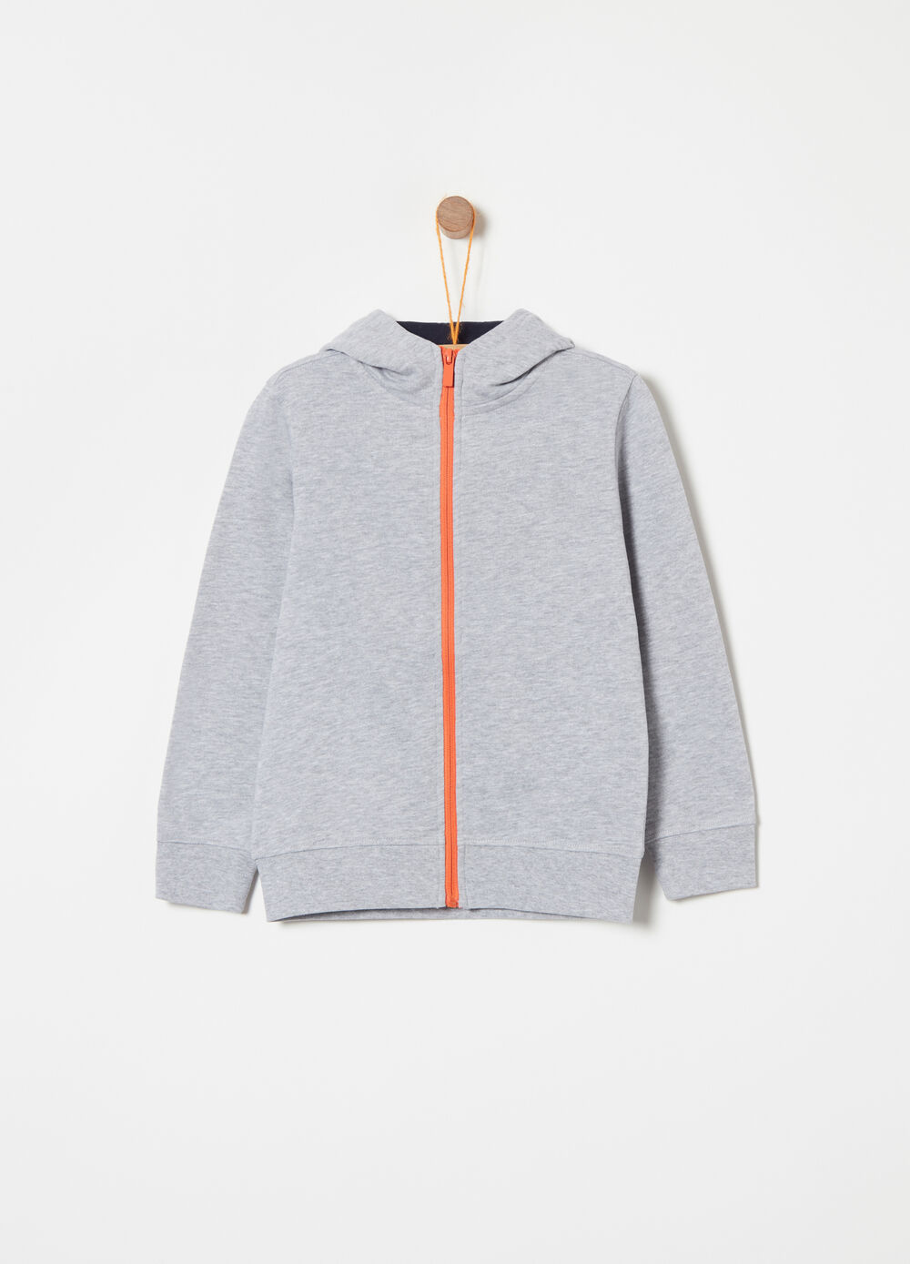 Full-zip heavy mélange sweatshirt with print on the back