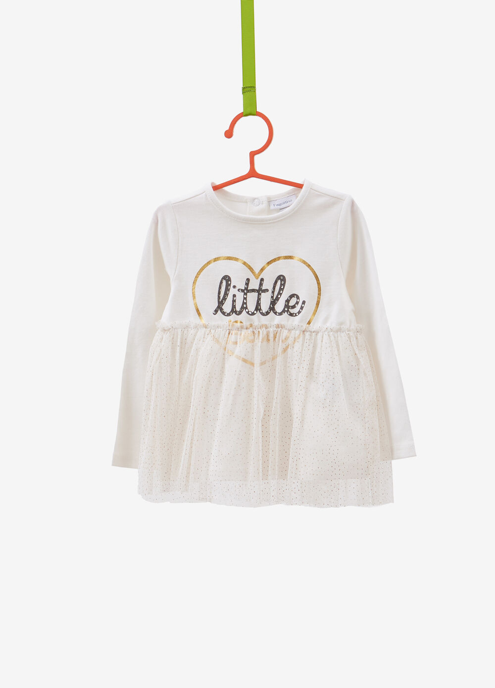 T-shirt with tulle flounce and printed lettering