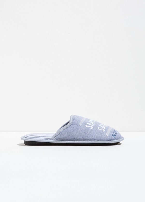Striped slippers with printed lettering | OVS