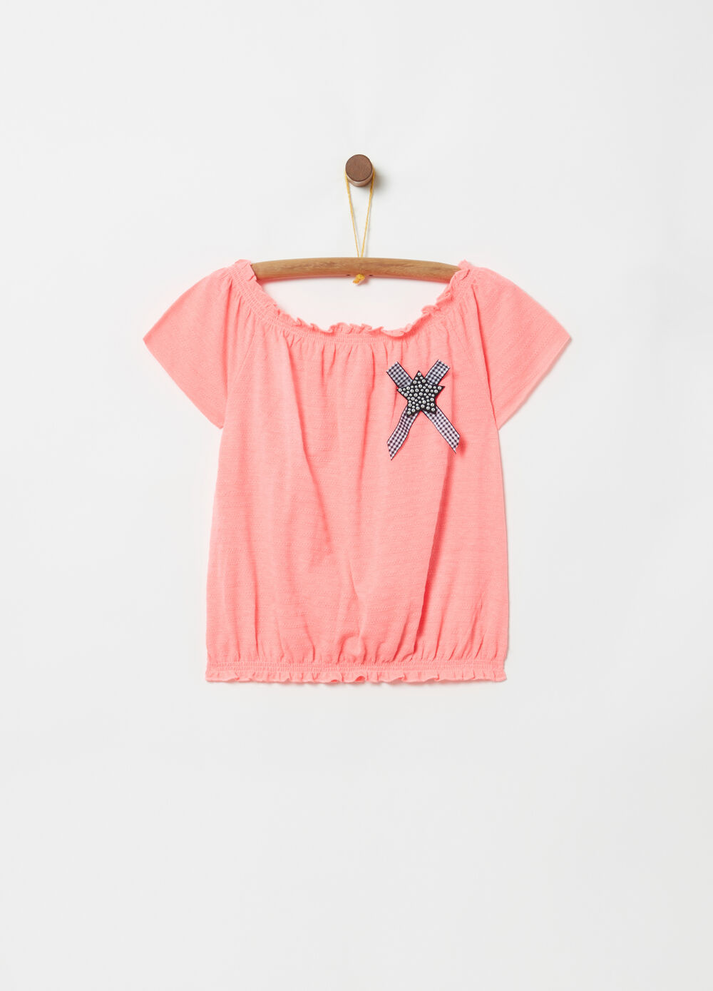 Off-the-shoulder T-shirt with star and bow