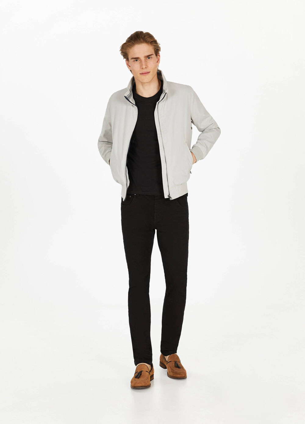 Jacket with high neck and ribbing