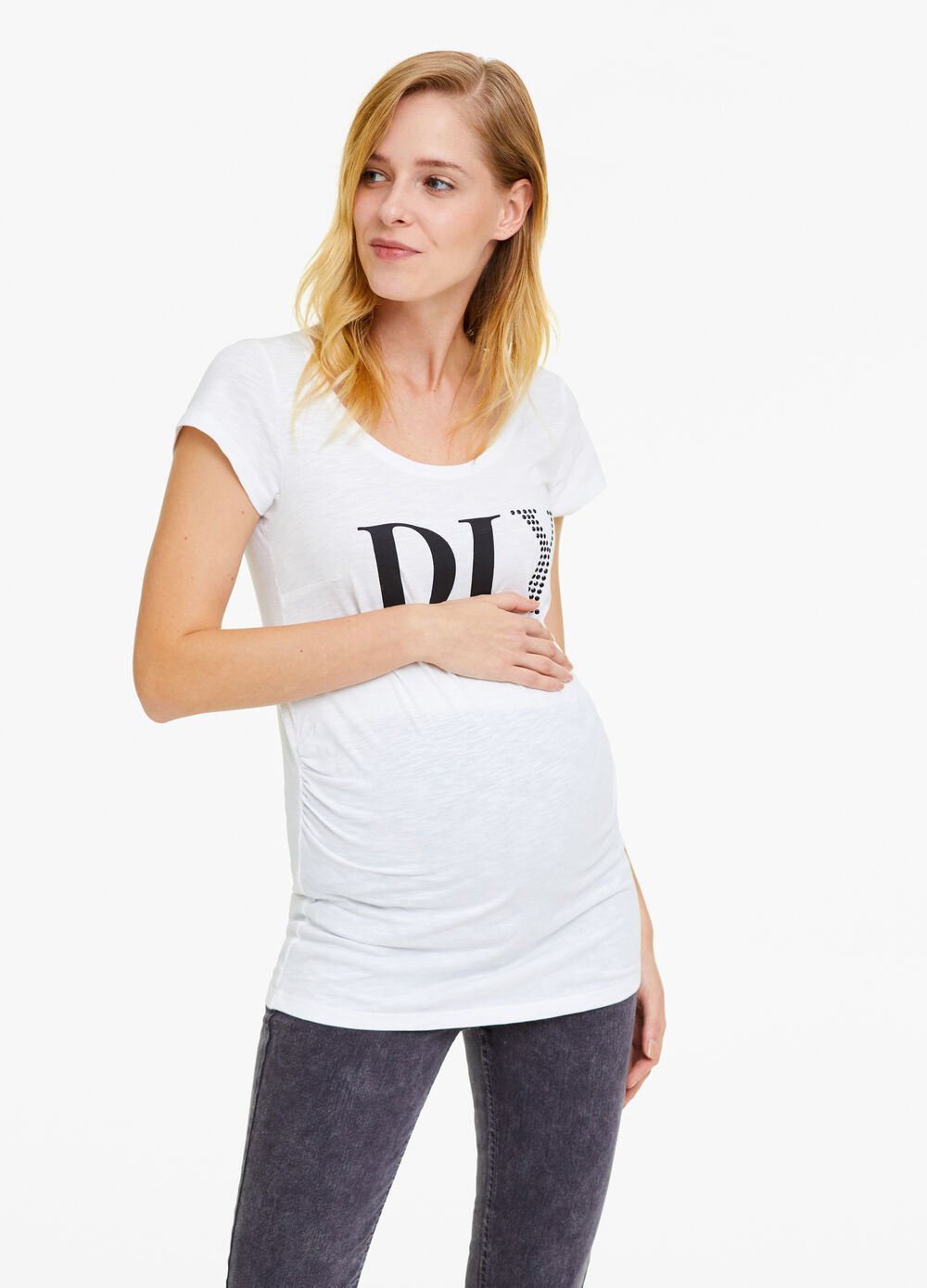 MUM 100% cotton T-shirt with lettering and diamantés