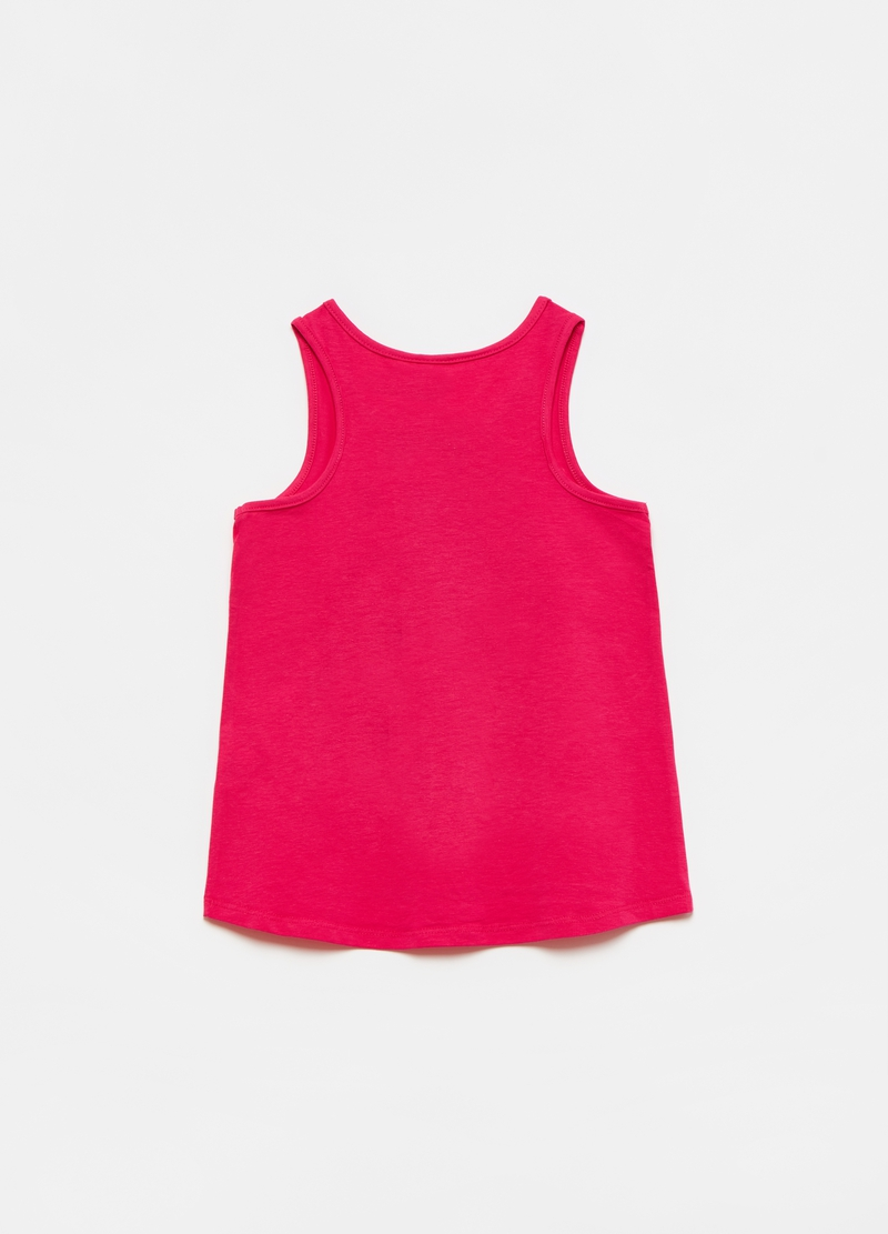 Tank top con stampa LOL e strass image number null