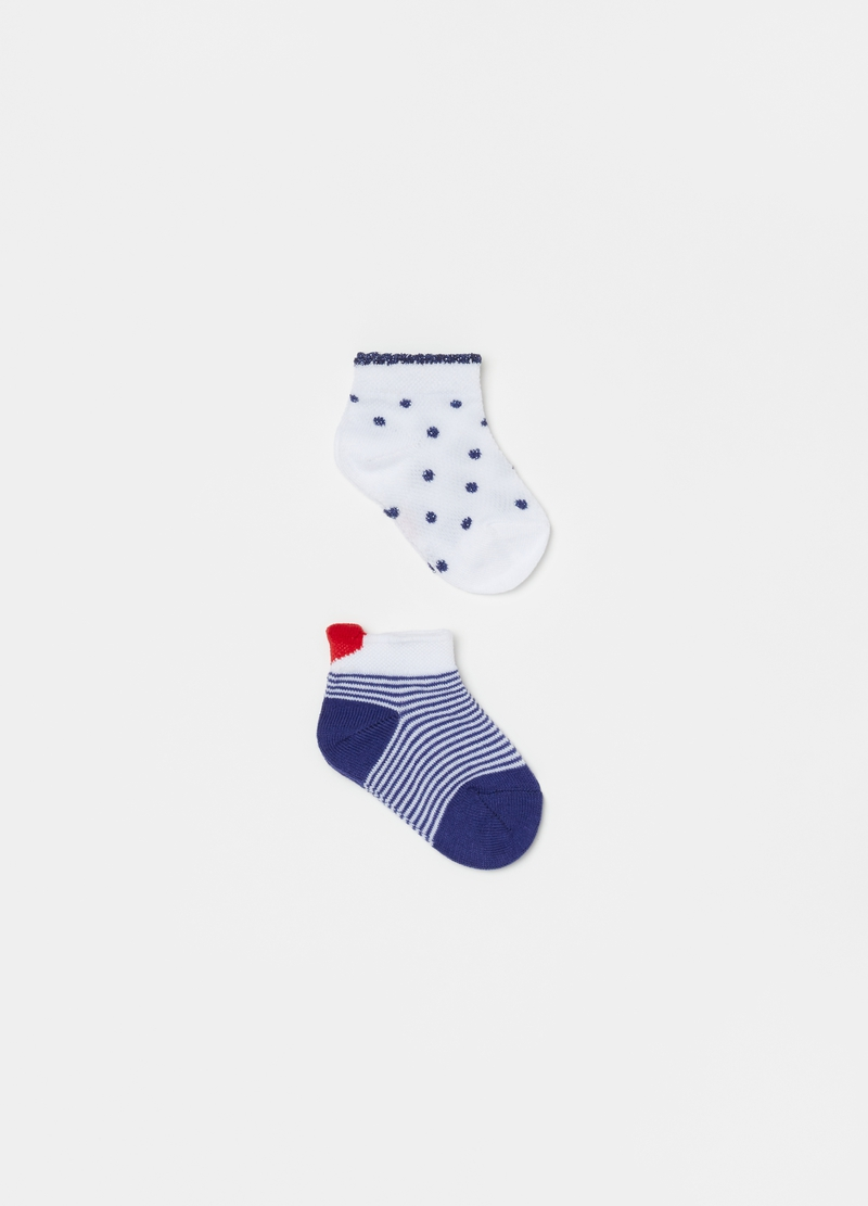 Two-pair pack short socks with stripes and polka dots image number null