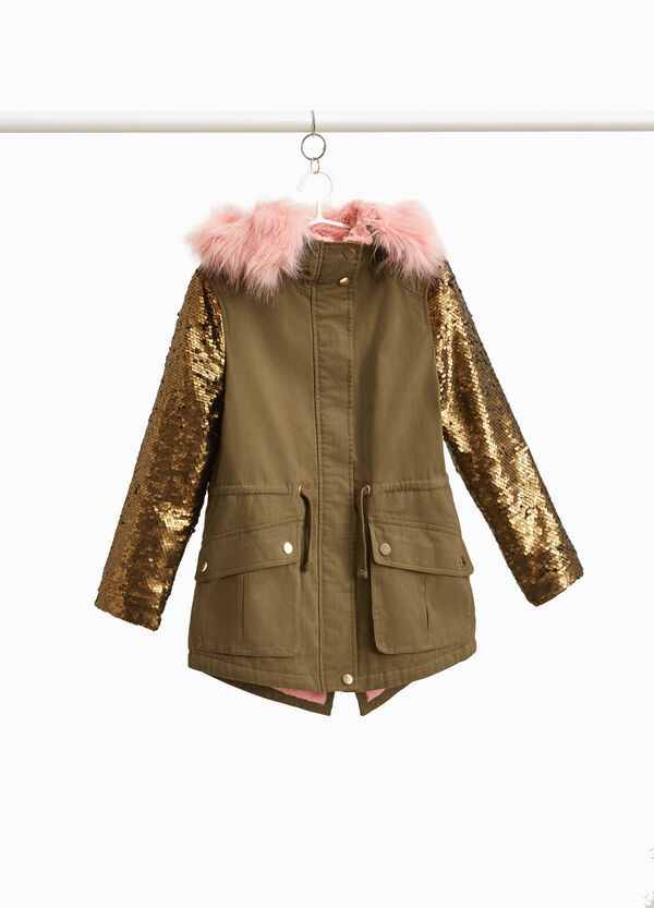 100% cotton parka with sequins