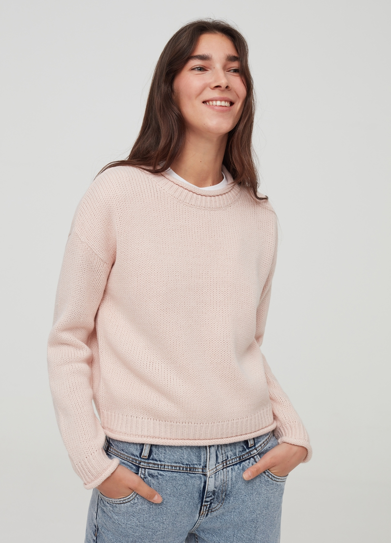 Pullover with drop shoulders and round neck image number null