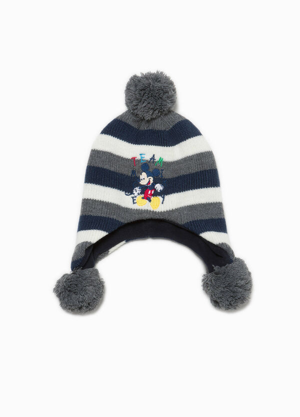 Mickey Mouse striped beanie cap