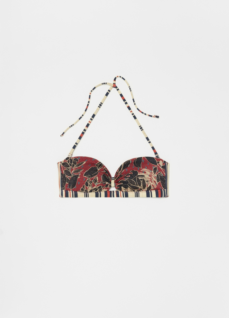 Bikini top with lurex and all-over print image number null
