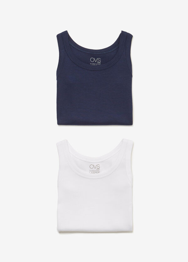Two-pack solid colour vest tops