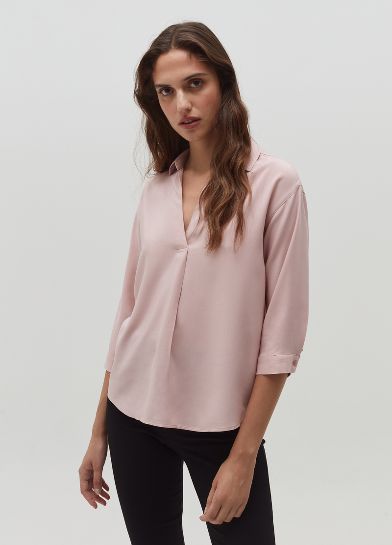 Viscose blouse with V neck image number null
