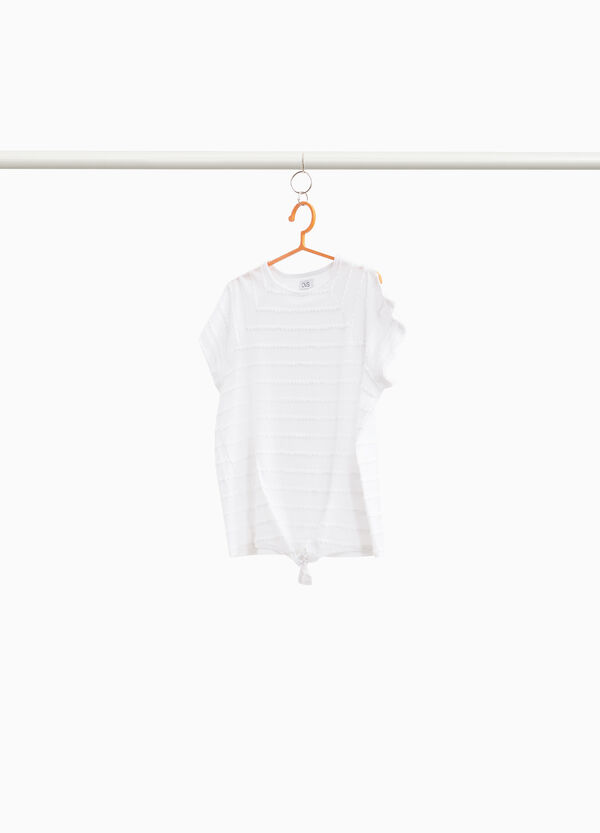 T-shirt with wavy striped inserts