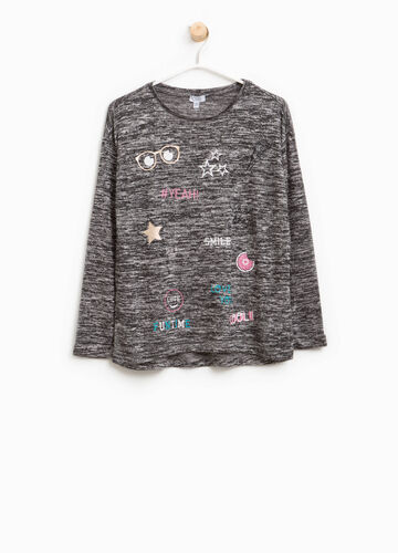 Viscose pullover with glitter print