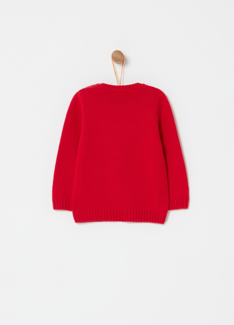 Pullover with crew neck and jacquard reindeer image number null