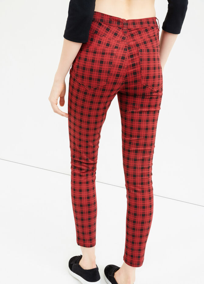 High-waisted check stretch trousers