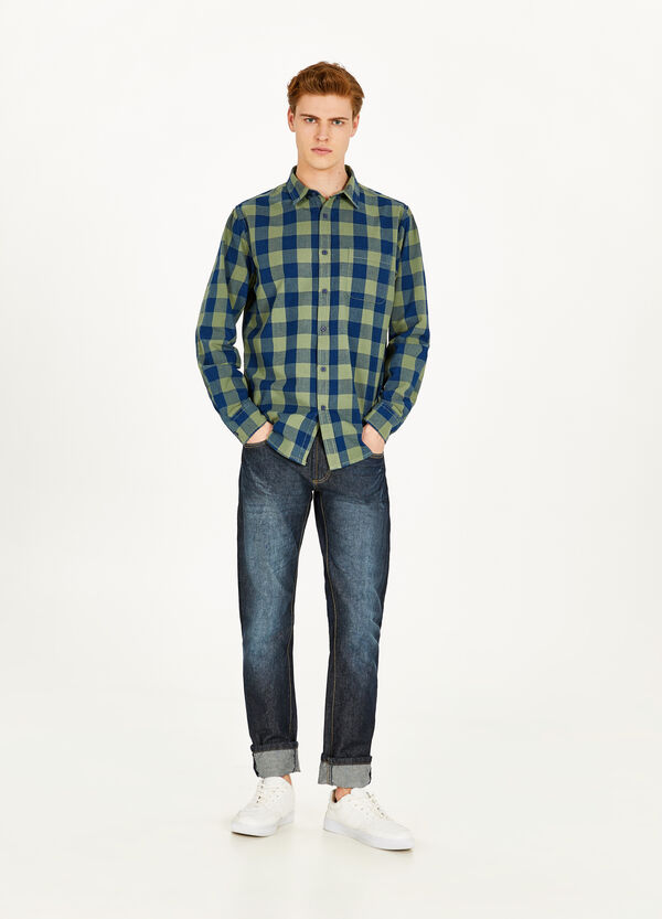 Casual check shirt in 100% cotton