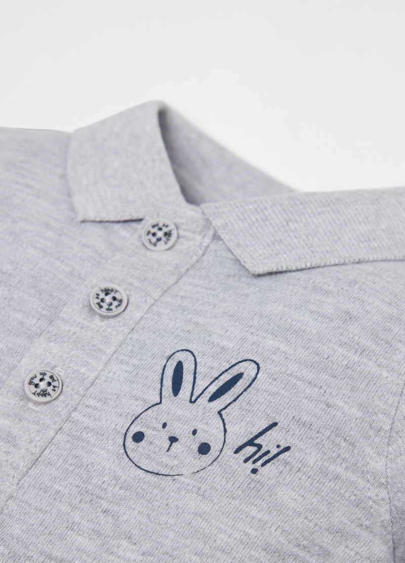 100% organic cotton polo shirt with rabbit print image number null