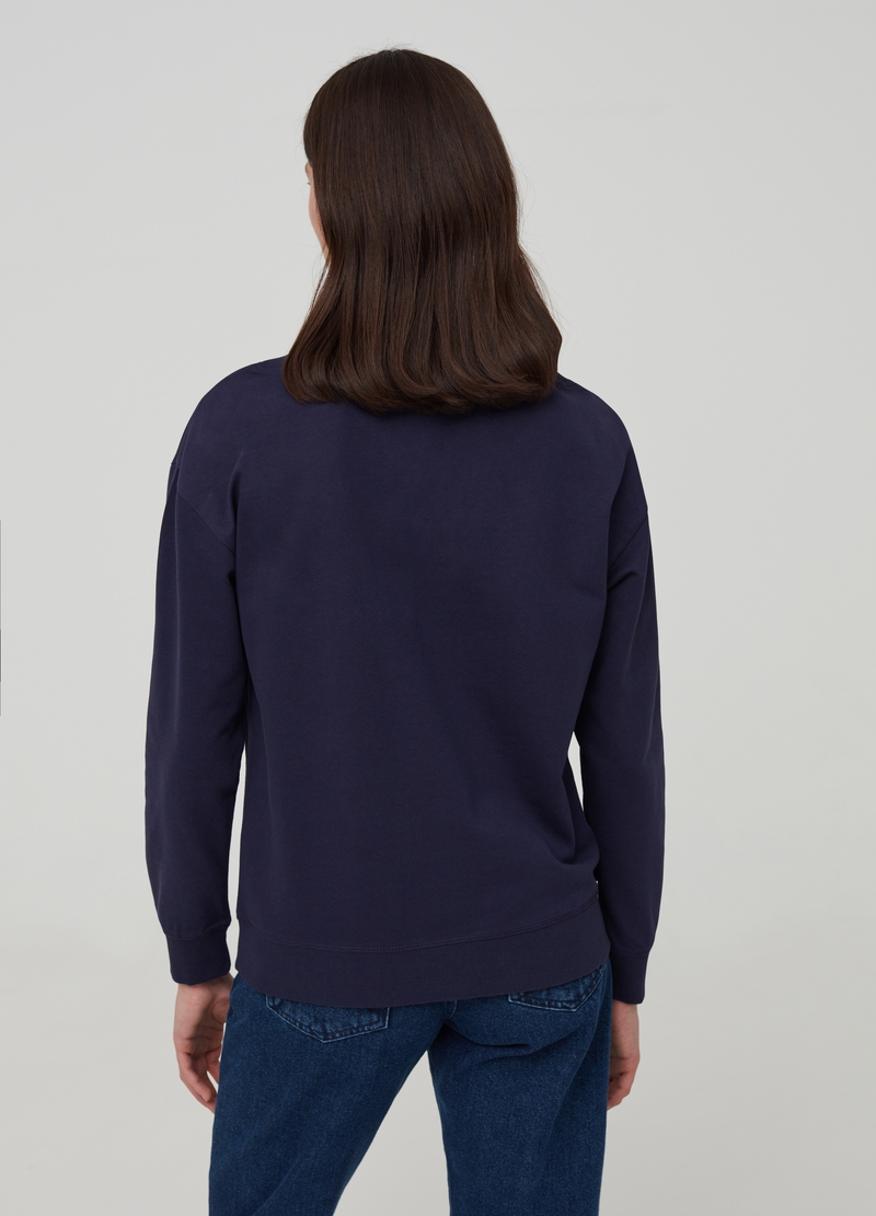 Sweatshirt with boat neck in 100% organic cotton image number null