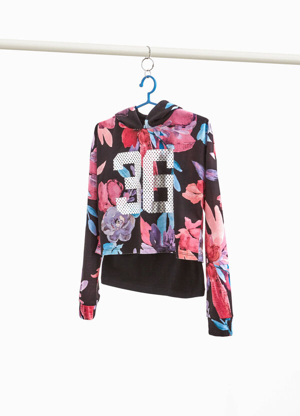 Stretch floral sweatshirt with insert