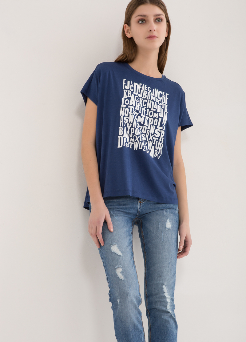 T-shirt ampia stampa lettering image number null