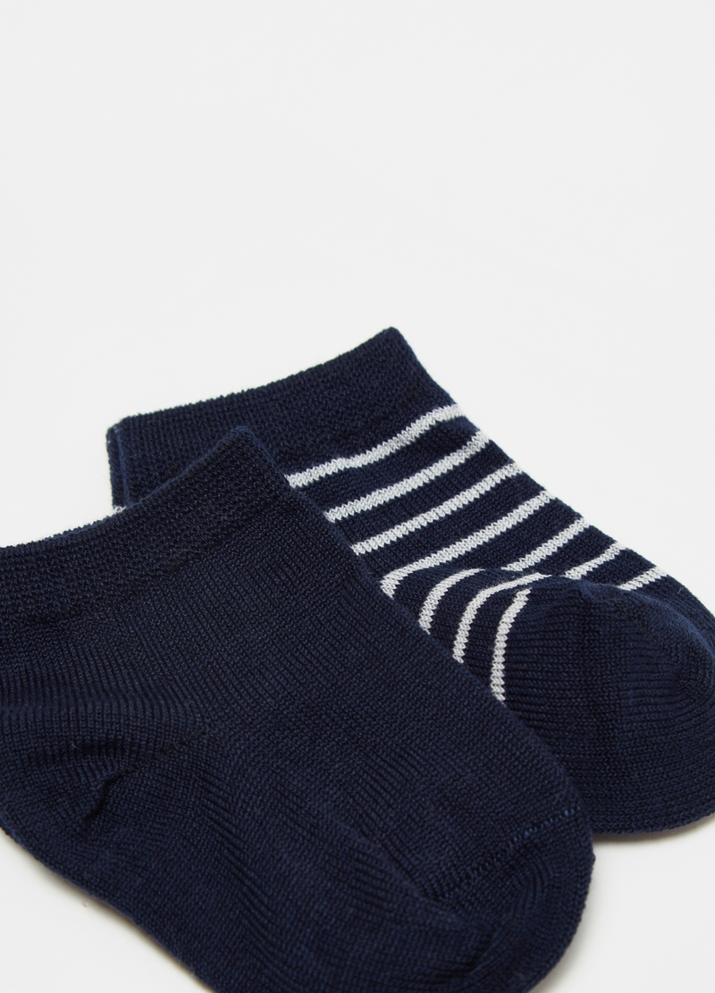 Two-pair pack short socks with stripes image number null