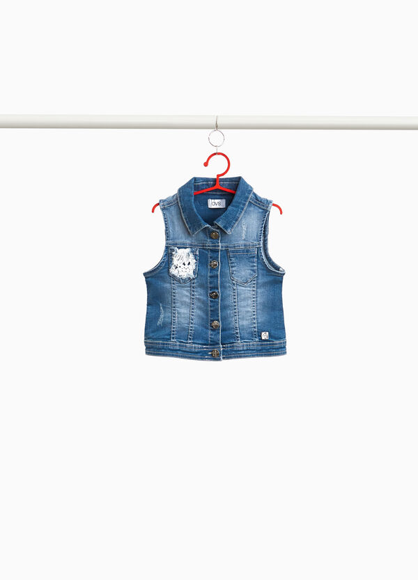 Gilet di jeans stretch used con pizzo