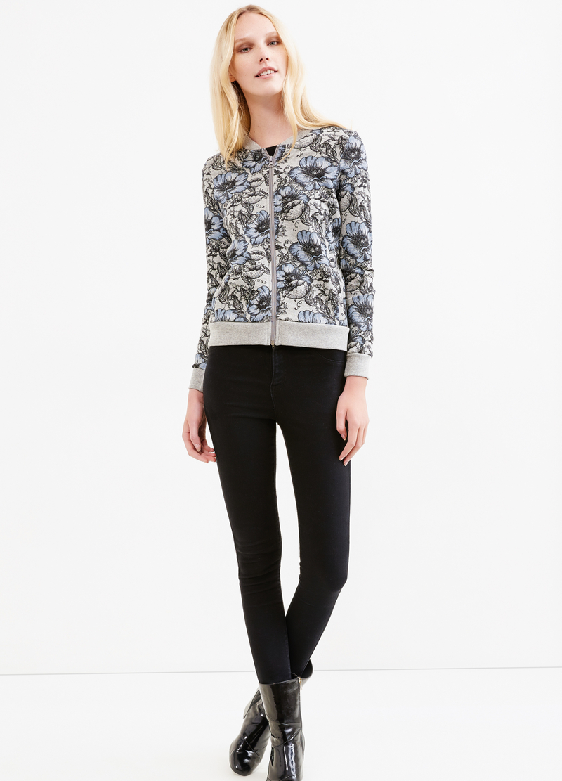 Flower print sweater with Minnie embroidery image number null
