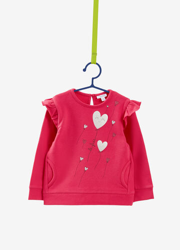 Stretch sweatshirt with hearts and balloons print