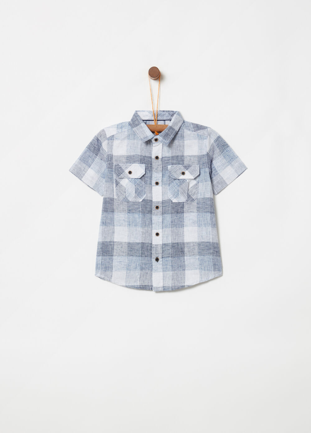 Short-sleeved check shirt in lyocell linen