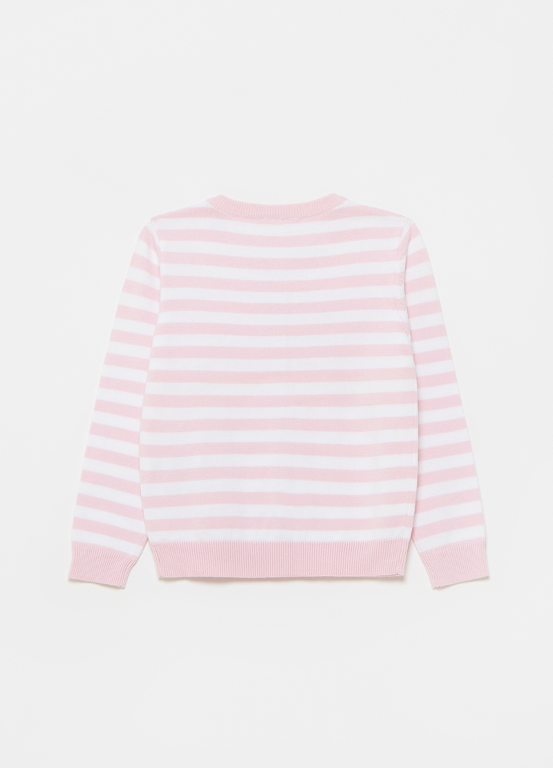 Striped cardigan in 100% cotton image number null