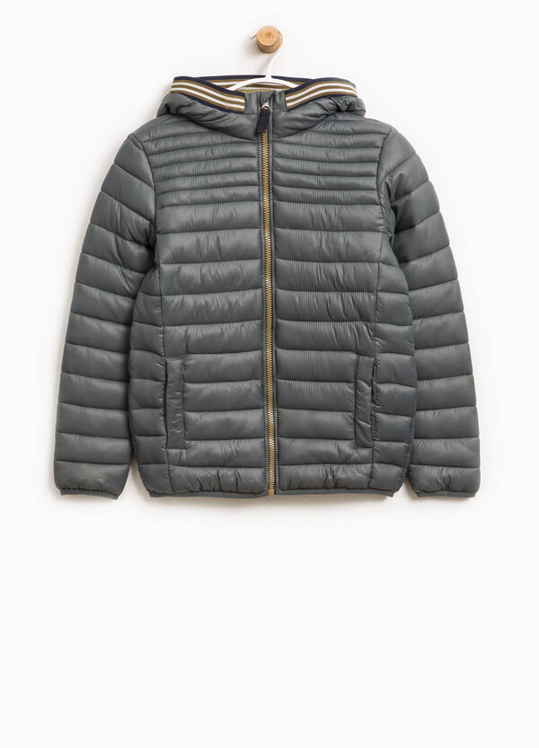 Down jacket with hood and striped ribbing | OVS