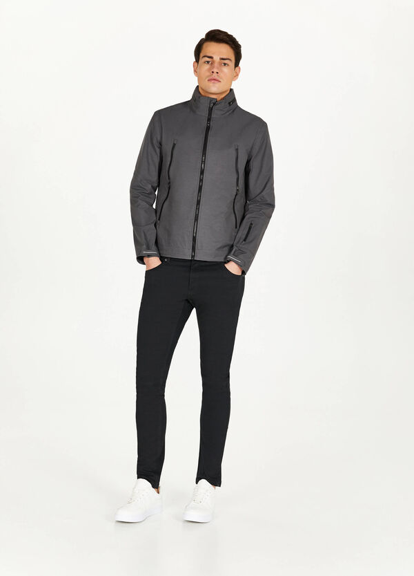 Cotton blend jacket with high neck