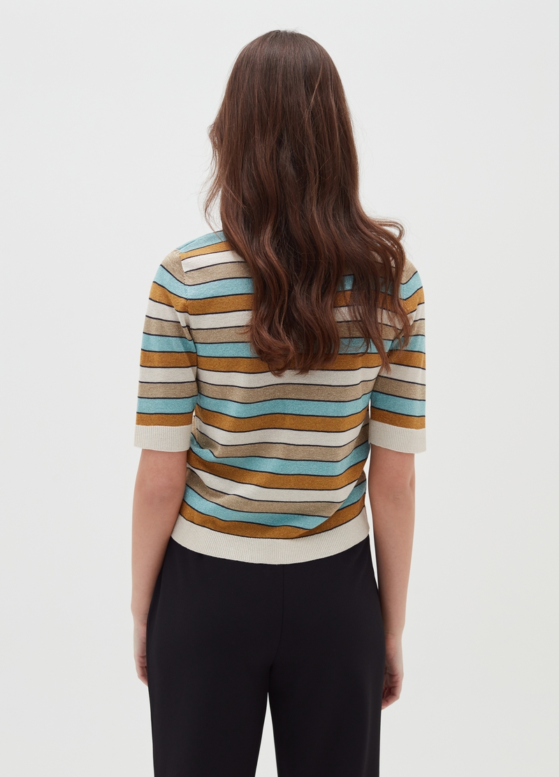 Pullover with elbow-length sleeves and striped pattern image number null