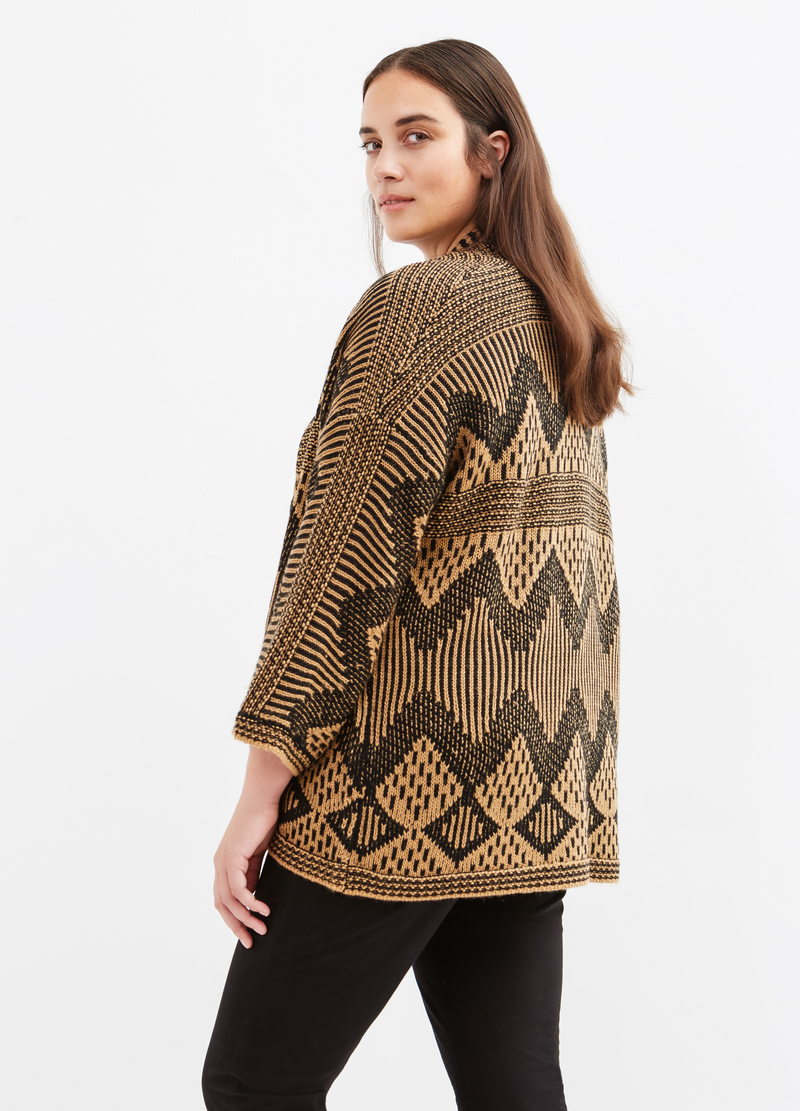 Curvy wool blend patterned cardigan image number null